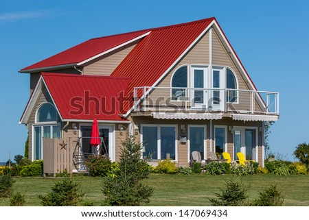 Colorful cottage to enjoy summer vacation. - stock photo