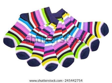 colorful cotton socks isolated on white background - stock photo