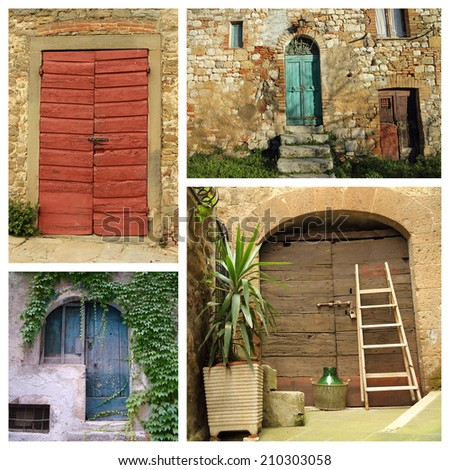 colorful country doors collage  - stock photo