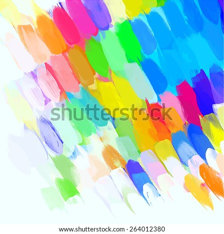 Colorful cover long brush strokes background. Raster version  - stock photo