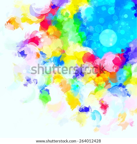 Colorful cover round brush strokes background. Raster version  - stock photo