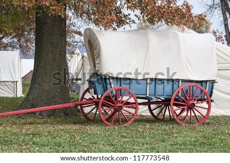 Colorful Covered Wagon - stock photo