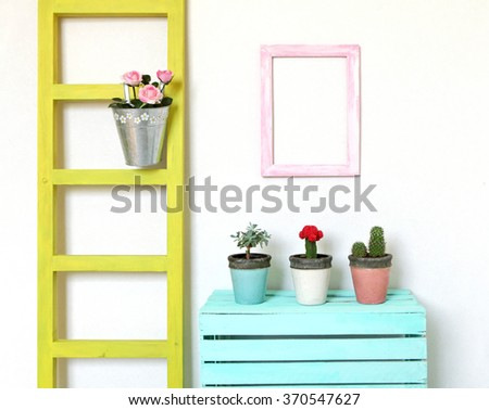 Colorful cozy  interior. Decorations for flowers