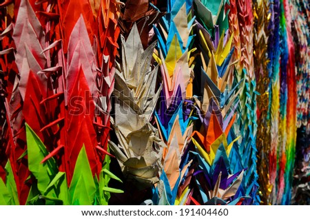 colorful crane origami at Japanese temple - stock photo