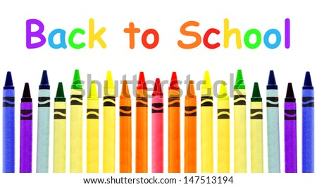 Colorful crayon border with Back to School text over white