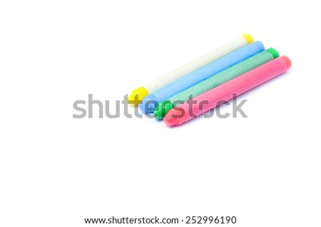 Colorful crayon on white background - stock photo