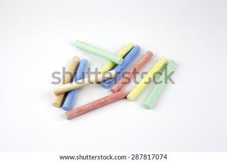 Colorful crayons on a white background. - stock photo