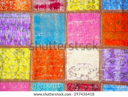 Colorful crazy quilt on the arabian market - stock photo