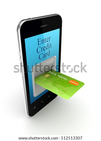 Colorful credit card connected to mobile phone.Isolated on white background.3d rendered.