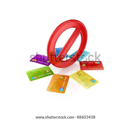 Colorful credit cards around red stop symbol.Isolated on white background.3d rendered.
