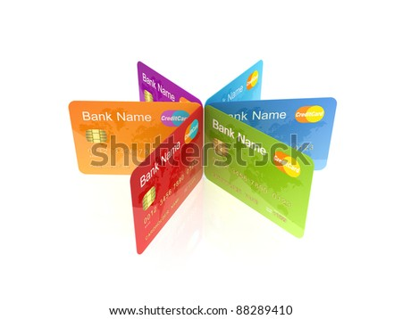 Colorful credit cards.Isolated on white background.3d rendered.