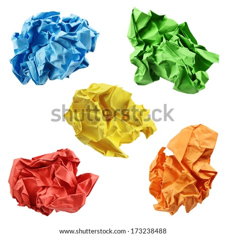 Colorful crumpled paper balls in blue, green, yellow, red and orange, isolated on a white background - stock photo