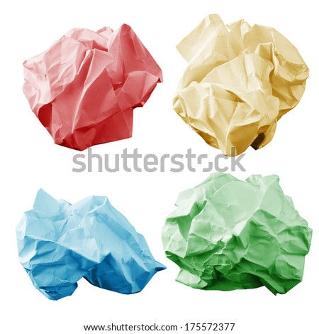 Colorful crumpled paper wads. isolated on white background