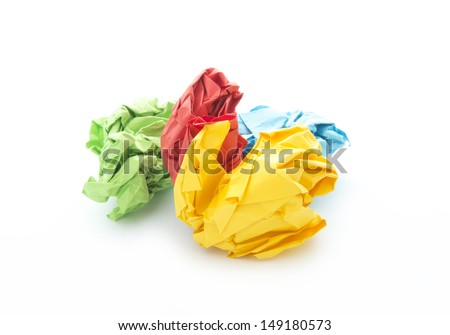 colorful crumpled papers isolated on white background