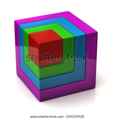 Colorful cube - stock photo