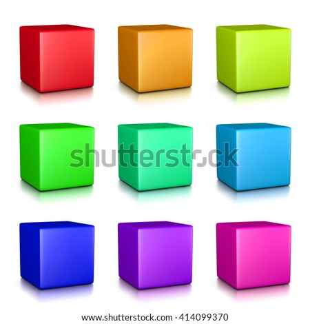 Colorful Cubes Collection on White Background 3D Illustration - stock photo