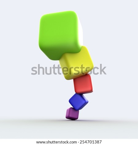 Colorful cubes 3D with shadow on gray background