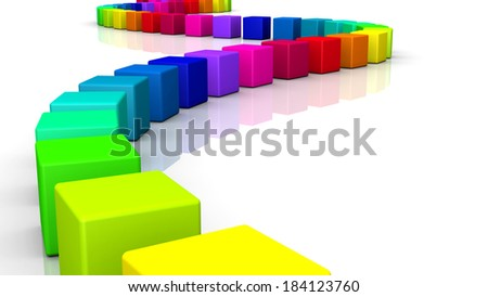colorful cubes in a row 5