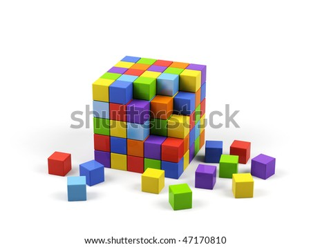 Colorful cubes on a white background. - stock photo