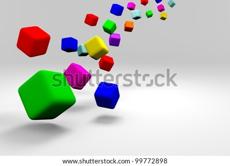 Colorful cubes on gray background