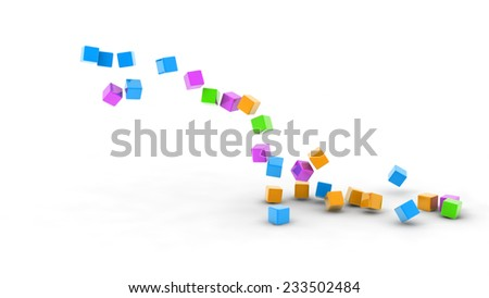 colorful cubes spraying to ground, Digitally Generated Image, - stock photo