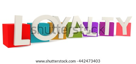 Colorful cubes with loyalty word, 3D rendering