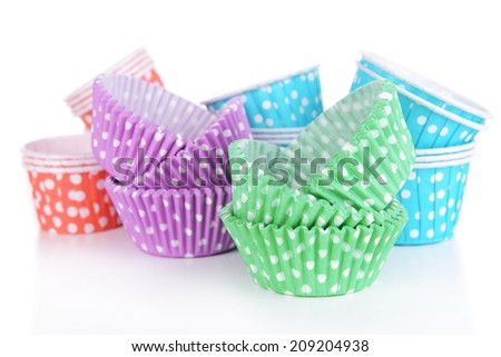Colorful cupcake wrappers, close-up - stock photo