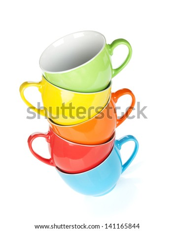 Colorful cups. Isolated on white background