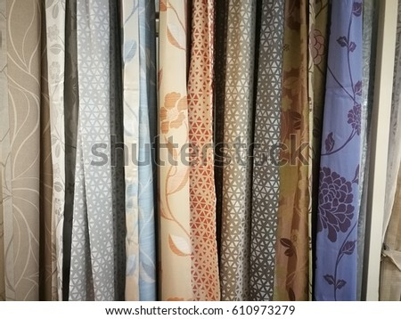 Colorful Curtain Samples Hanging Hangers On Stock Photo (Edit Now ...