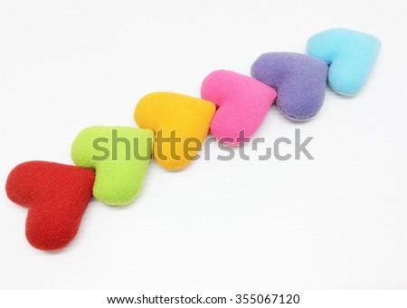 Colorful Cushion heart shape isolated on white background - stock photo