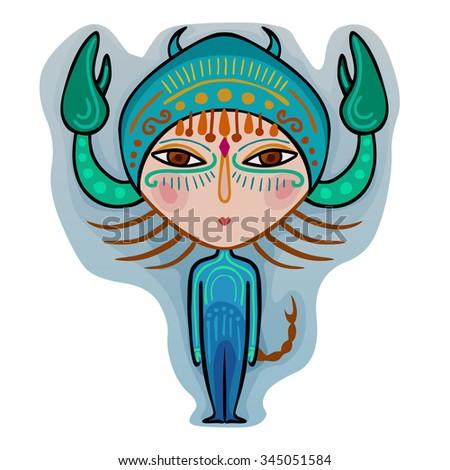 colorful cute original zodiac sign - scorpio - stock photo