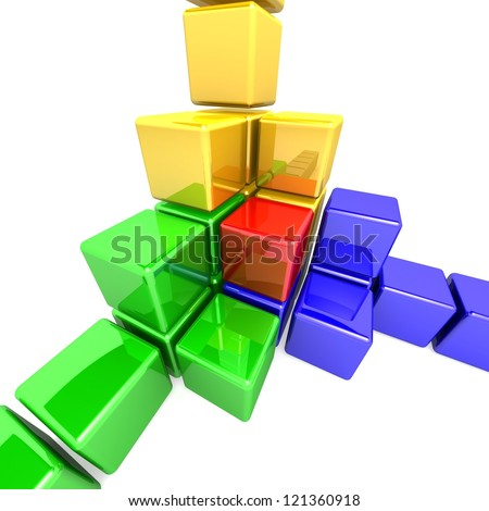 Colorful 3D Cubes - stock photo