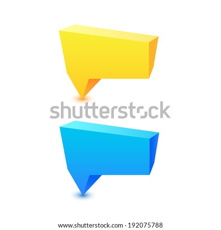 Colorful 3d geometric speech bubbles, background, sign for text or message. Rasterized copy of vector.