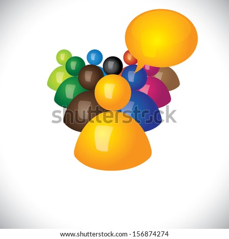 colorful 3d icons or signs of manager talking to diverse team graphic. This illustration also represents internet community & social network, multi-racial team, workers & manager - stock photo