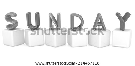 "Colorful 3d letters ""Sunday"" on white cubes on a white background - stock photo"