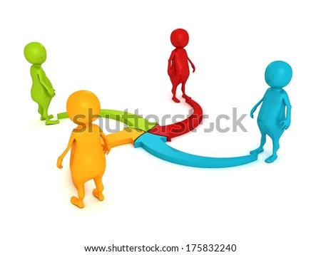 colorful 3d people with cycle arrows pointing center - stock photo