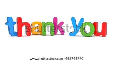 Colorful 3d rendering of the word thank you over white background.