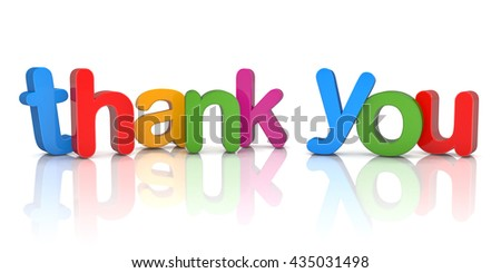 Colorful 3d rendering of the word thank you over white background with reflections.