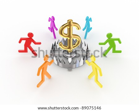 Colorful 3d small people around iron trap and dollar sign.Isolated on white background. - stock photo