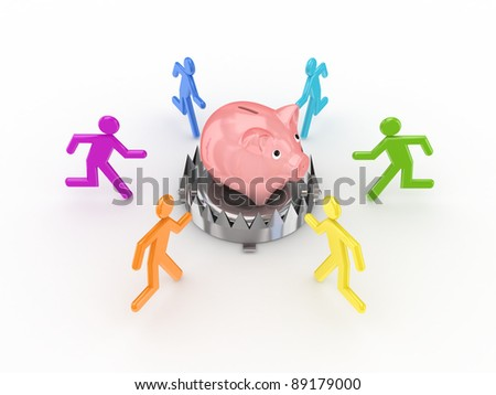Colorful 3d small people around iron trap and piggy bank.Isolated on white background. - stock photo