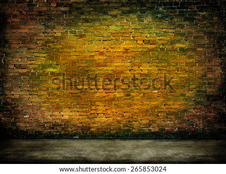 colorful dark brick wall texture with foreground - stock photo