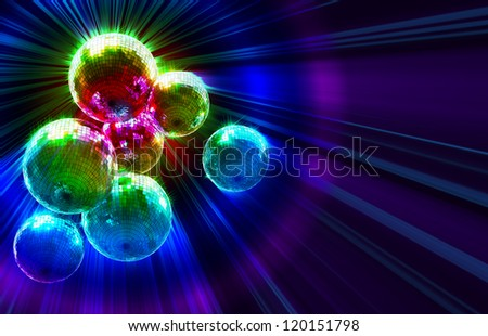 Colorful dark funky background with mirrored glitter disco balls for party - stock photo