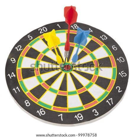 Colorful darts hitting a target. Success concept. - stock photo
