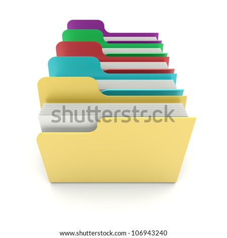 Colorful data folders on a white background. 3d image - stock photo