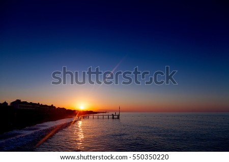 Colorful dawn over the sea in tropic location