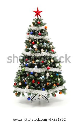 Colorful decorated artificial Christmas tree isolated on white - stock photo