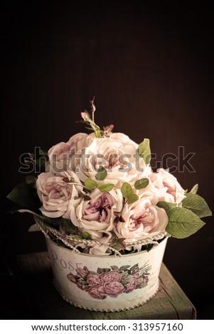 Colorful decoration artificial flower (vintage) - stock photo