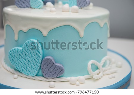 Colorful Decoration First Year Birthday Cake Stock Photo Image