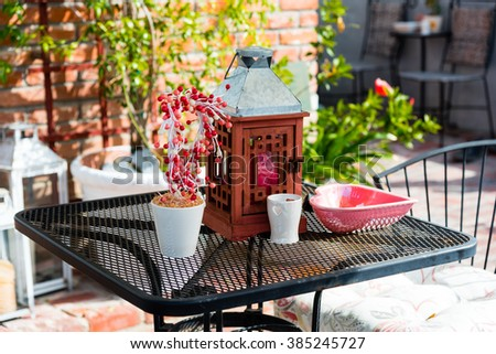 colorful decorations on a garden table