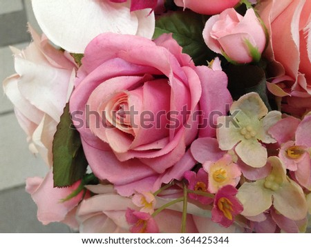 Colorful decorative artificial flowers.